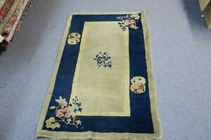 Antique Old Art Deco Chinese Rug Mat Hand Knotted Wool 2 3 X 4 Pekin