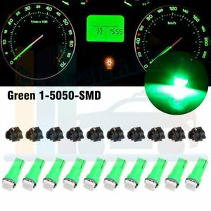 10x T5 1smd Green Instrument Panel Cluster Dash Led Bulb Twist Socket For Ford