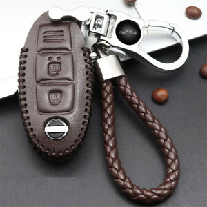 Car Remote Control Key Box Case Cover Brown 360 Rotating Key Chains For Nissan