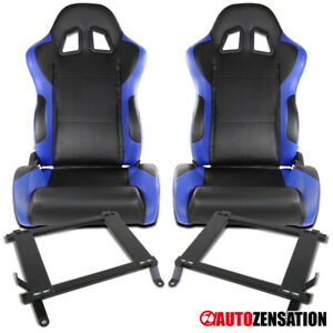 Ford 05 14 Mustang Black blue Pvc Leather Sports Reclinable Seats Pair brackets