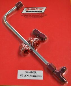 Quick Fuel Holley Carburetor Dual Feed Line 4150 Carb Fuel Log Red