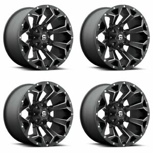 Set 4 20 Fuel Assault D546 Black Milled Rims 20x9 5x4 5 5x120 35mm 5 Lug Truck