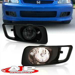 1999 2000 Honda Civic Ek Driving Front Jdm Bumper Smoked Fog Lights Lamps Pair