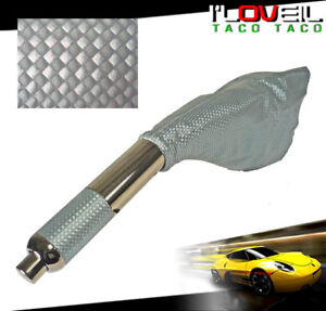 Silver Carbon Emergency E Brake Handle With Boot For Toyota Corolla Celica Mr2