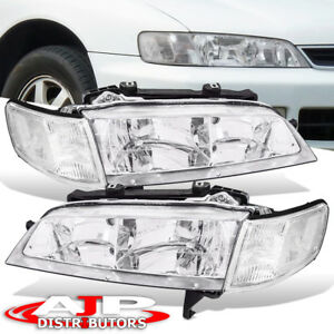 Chrome Clear Headlight Lamps For 94 97 Honda Accord 2 4dr Corner Lamps Set