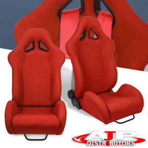 For Audi 2x Sport Off Road Full Reclinable Bucket Seat Slider Rail Unit Red
