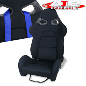Black Cloth Racing Bucket Safety Seat Universal Single Adjustable Reclinable