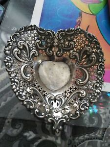 Old Gorham Co Sterling Silver Footed Heart Shaped Candy Dish Bowl From 1880 S