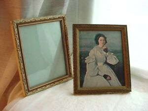 Antique Wooden Frames Lot Of 2 And One With Corot Picture