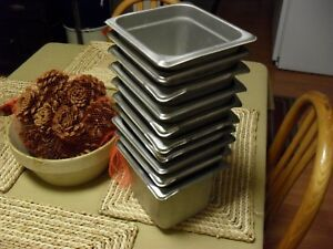 Lot Of 10 Stainless Steel 1 6 Steam Table Pan 4 Deep Nsf Restaurant Catering