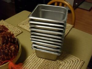 Lot Of 10 Stainless Steel Pan Prep 1 6 Size X 2 5 D Food Steam Table Restaurant