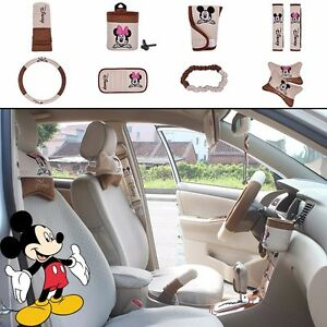 On Sale New Disney Mickey Minnie Mouse Car Accessories 10pcs