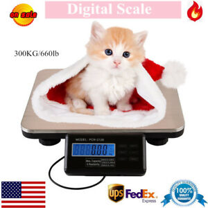 Lcd Digital Platform Scale Weight Food Kitchen Postal Pet Dog Tabletop 300kg Us