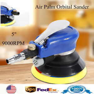 9000rpm 5 Round Air Palm Orbital Sander Random Hand Sanding Pneumatic New Us