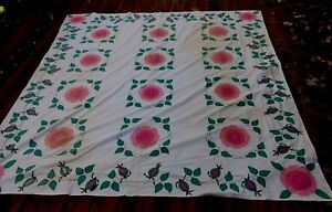 Vintage Applique Coverlet Muslin Floral Tendril Vines Embroidery 84 X 84