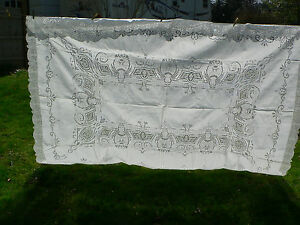 Antique Point De Venise Lace Cutwork Embroidered Tablecloth 104 X 72