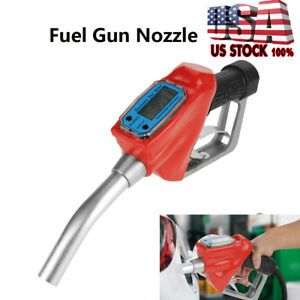 1 digital Fuel Meter Nozzle Auto Shut off Oil Filling Gun Diesel Gasoline Refuel