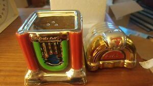 COKE AND A SONG COCA COLA JUKEBOX SALT AND PEPPER SHAKER SET A1