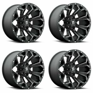 Set 4 22 Fuel Assault D546 Black Milled Wheels 22x10 5x5 5 5x150 18mm Lifted