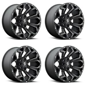 Set 4 22 Fuel Assault D546 Black Milled Wheels 22x12 8x170 44mm Lifted Ford