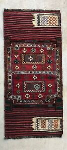 6x3 Vintage Handmade Wool Antique Persian Bakhtiari Lure Rug Tribal Kilim Runner