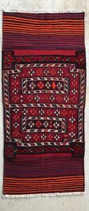 3x7 Vintage Handmade Wool Antique Persian Bakhtiari Lure Tribal Rug Kilim Runner