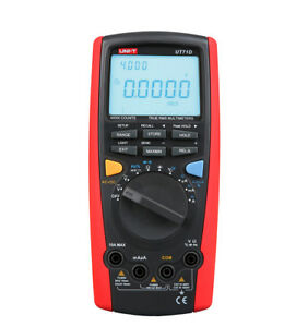 Uni t Ut71e Digital Multimeter Tester Usb Data Log Ac Dc Power Cord Socket Red