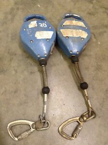Lot Of 2 Falltech 7227 20 Duratech Galvanized Steel Cable Retractable