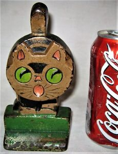 Antique Hubley Pa Usa Cast Iron Americana Folk Art Toy Cat Statue Home Doorstop