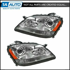Halogen Headlight Headlamp Lh Rh Pair Set For Mercedes Ml320 Ml430 Amg Ml63