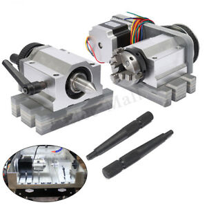 Cnc Router Rotational Rotary Axis A axis 4th axis 50mm 3 Jaw Chuck tail Usa