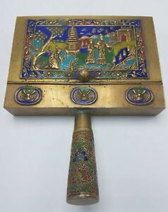 Antique Chinese Cloisonne Silent Butler Crumb Catcher Enamel Brass China