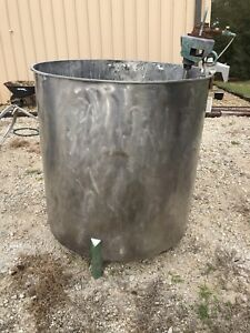 350 Gallon Stainless Steel Open Top Mixing Tank W Old Pneumatic Mixer Dish Botto