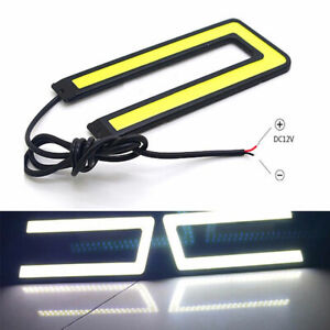 U Shape Cob Auto Car Led Drl Turn Lamp Daytime Running Light Driving White
