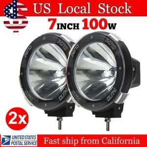 1 Pair 7 Inch 12v 100w Hid Driving Xenon Spotlights Search Light For Offroad Qq
