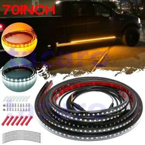 2pcs 70 Running Board Side Step Led Light Amber White Turn Signal Drl Courtesy