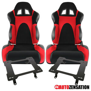 For 79 98 Ford Mustang Black Red Faux Suede Racing Seats Laser Welded Brackets