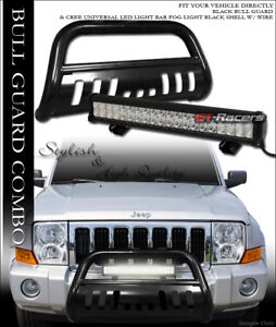 Blk Bull Bar Guard 120w Cree Led Light For 05 Jeep Grand Cherokee 06 Commander