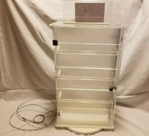Countertop Rotating Jewelry Display Case Lockable W Key Double Sided Shelves