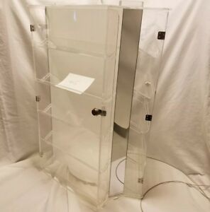 3 Face Side Countertop Rotating Jewelry Display Case Lockable W Key Acrylic Tri