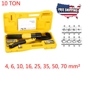 10 Ton Hydraulic Wire Cable Terminal Crimper Crimping Tool Pliers Set With 8dies
