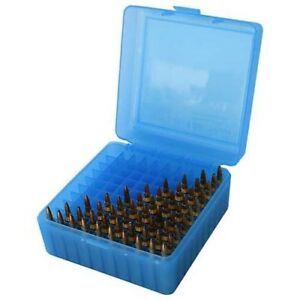 MTM RS10024 223204 Ruger 100-Round Capacity Clear Blue Ammo Range Box