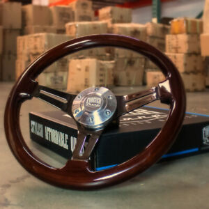 350mm 14 Inch Dark Wood Steering Wheel Wood Grip Vintage Jdm Drift 6 Hole