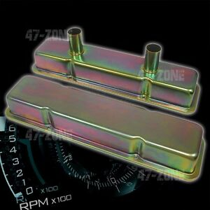 Steel 1958 79 Chevy Sb 283 350 Circle Track Racing Valve Covers Zinc
