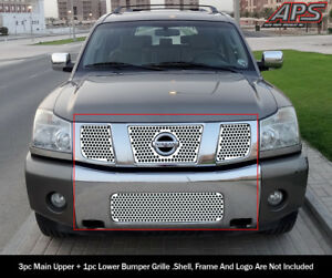 Fits 2004 2007 Nissan Titan armada Stainless Laser Cut Grille Sheet Combo