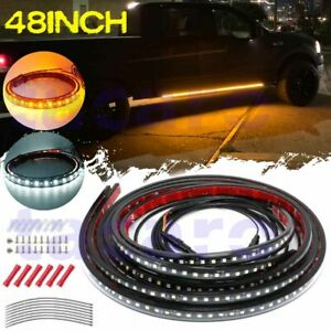 48 Side Running Board Led Light Strips White Amber Turn Signal Drl Courtesy