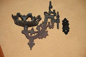 Vintage Cast Iron Wall Sconce Oil Lamp Bracket Swing Arm Wall Mount