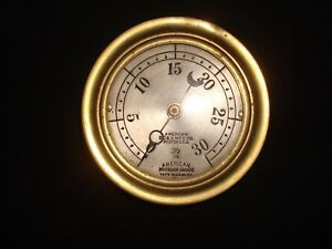 Vintage Brass American Steam Pressure Gauge Valve Mfg Co 3 1 2 Bourdon 30 Psi