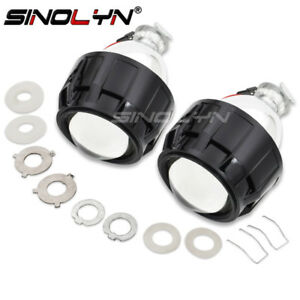 2 5 Mini Hid H1 Bi Xenon Projector Lens Headlight Lenses Kit W Black Shrouds