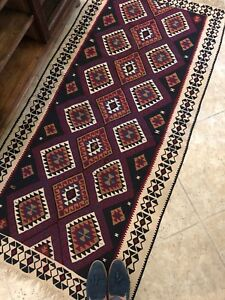 3x7 Vintage Handmade Wool Persian Tribal Carpet Boho Turkish Kilim Rug Runner